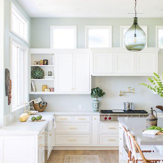 Contemporary Style Beach House White Kitchen Designed by HartmanBaldwin