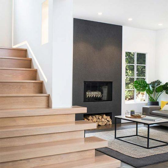 Modern Minimalist Stairwell & Living Room Design by HartmanBaldwin