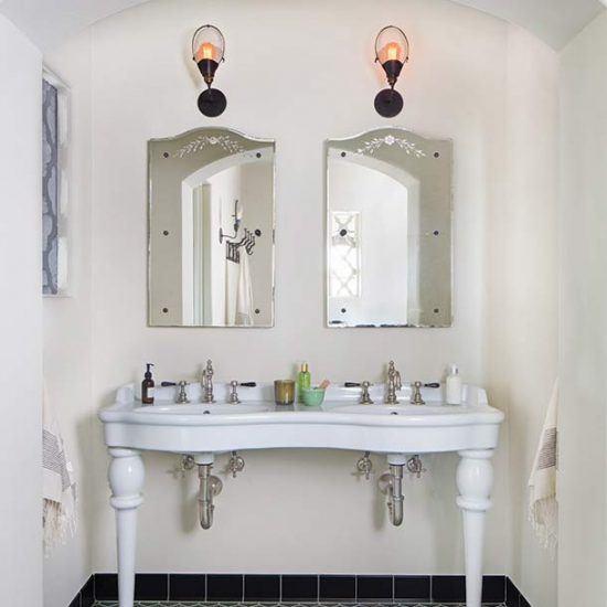 Custom Mediterranean Double Sink Master Bathroom Design by HartmanBaldwin