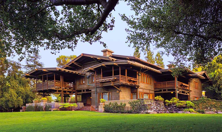 Designed in 1908 by architects Greene & Greene, the Gamble House represents the influential American Arts and Crafts movement.                Photo Credit: Visit Pasadena