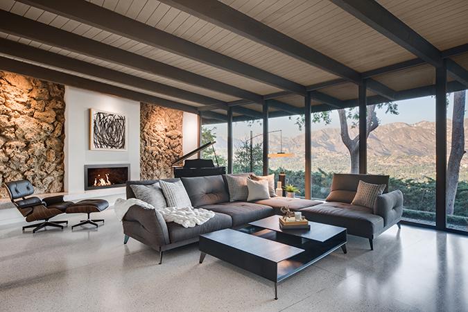 HartmanBaldwin Mid-Century Modern Living Room Fireplace After